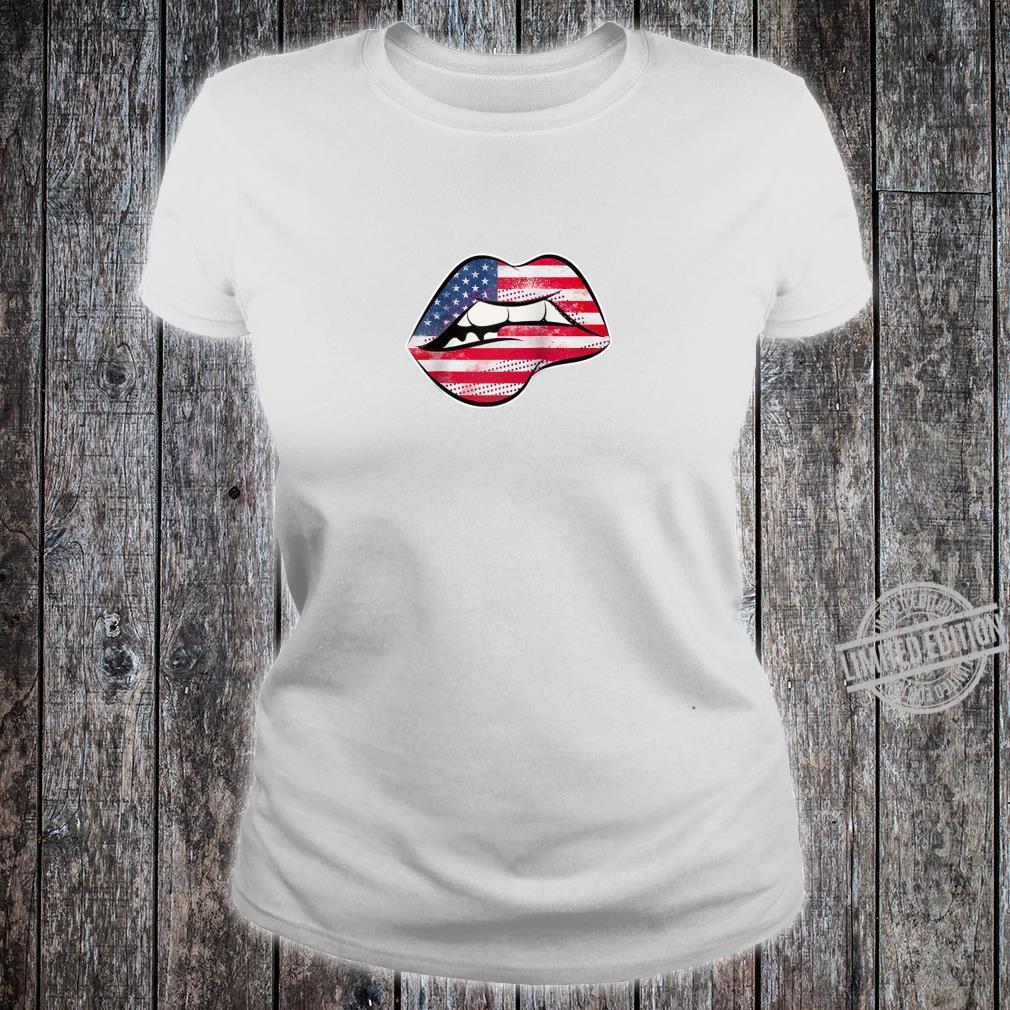 American Flag Lips Shirt ladies tee