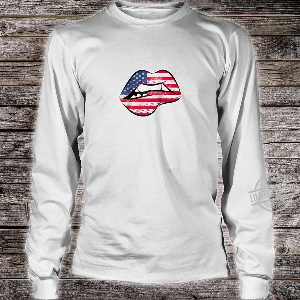 American Flag Lips Shirt long sleeved