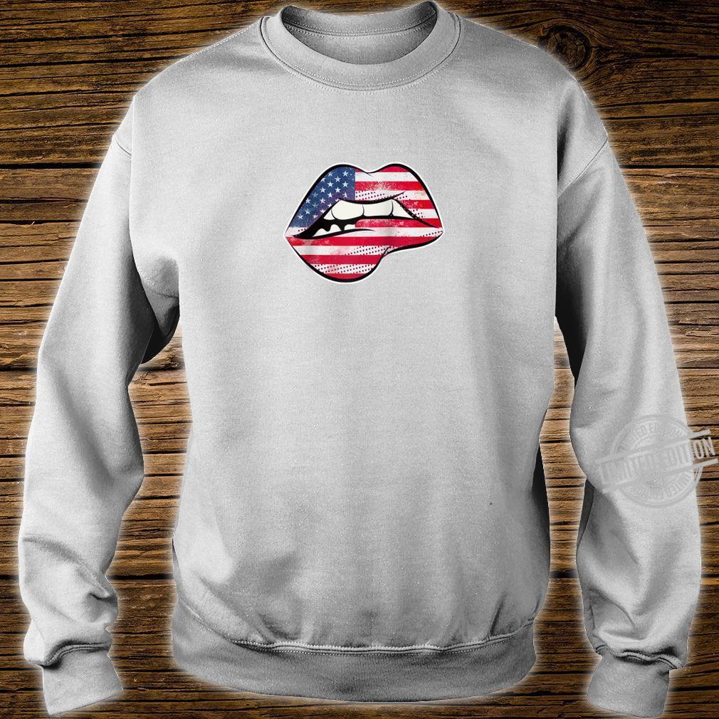 American Flag Lips Shirt sweater
