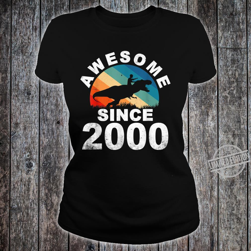 Awesome Since 2000 20th Dinosaur Trex 20 Year Old Shirt ladies tee