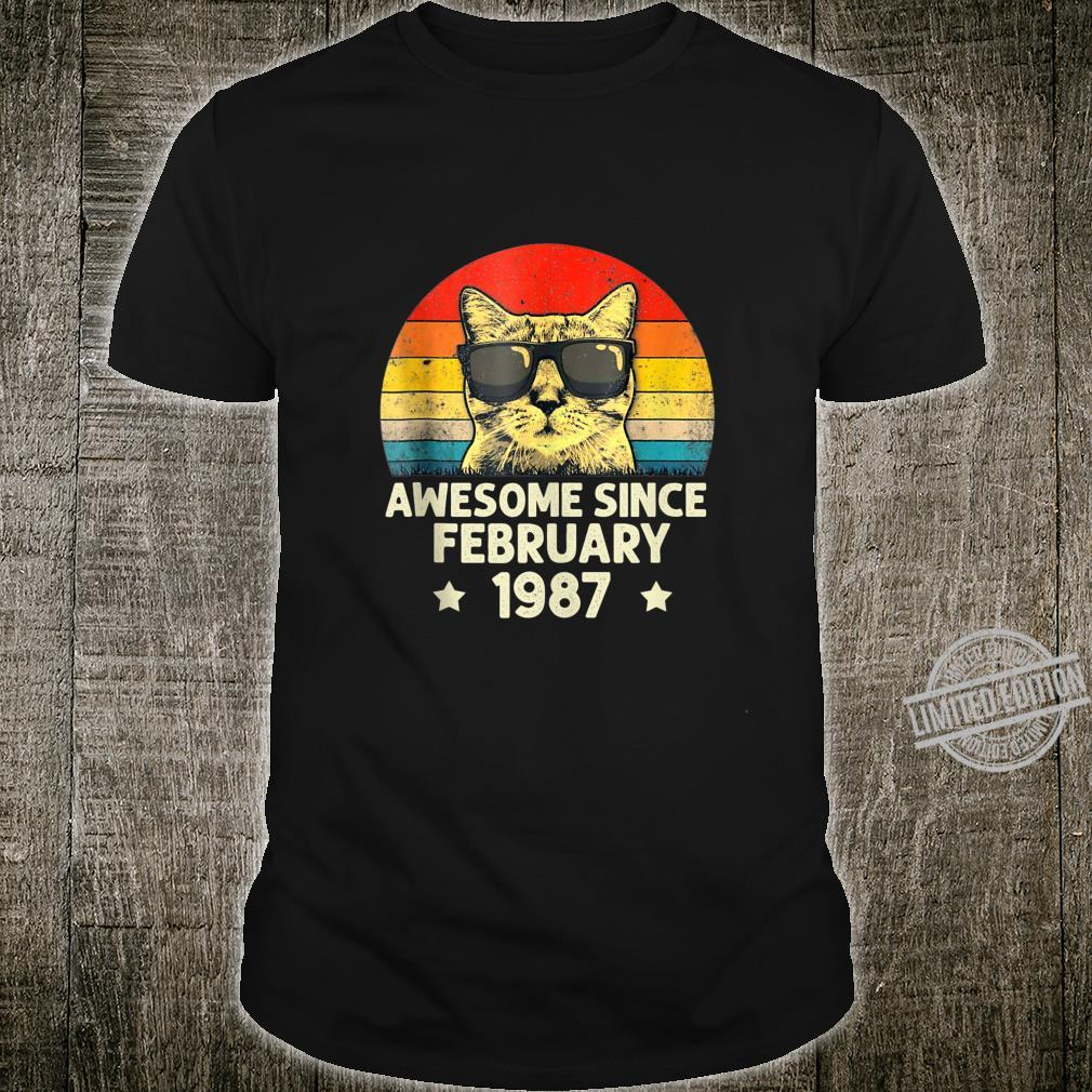 Awesome Since February 1987 33rd Birthday Cat Shirt