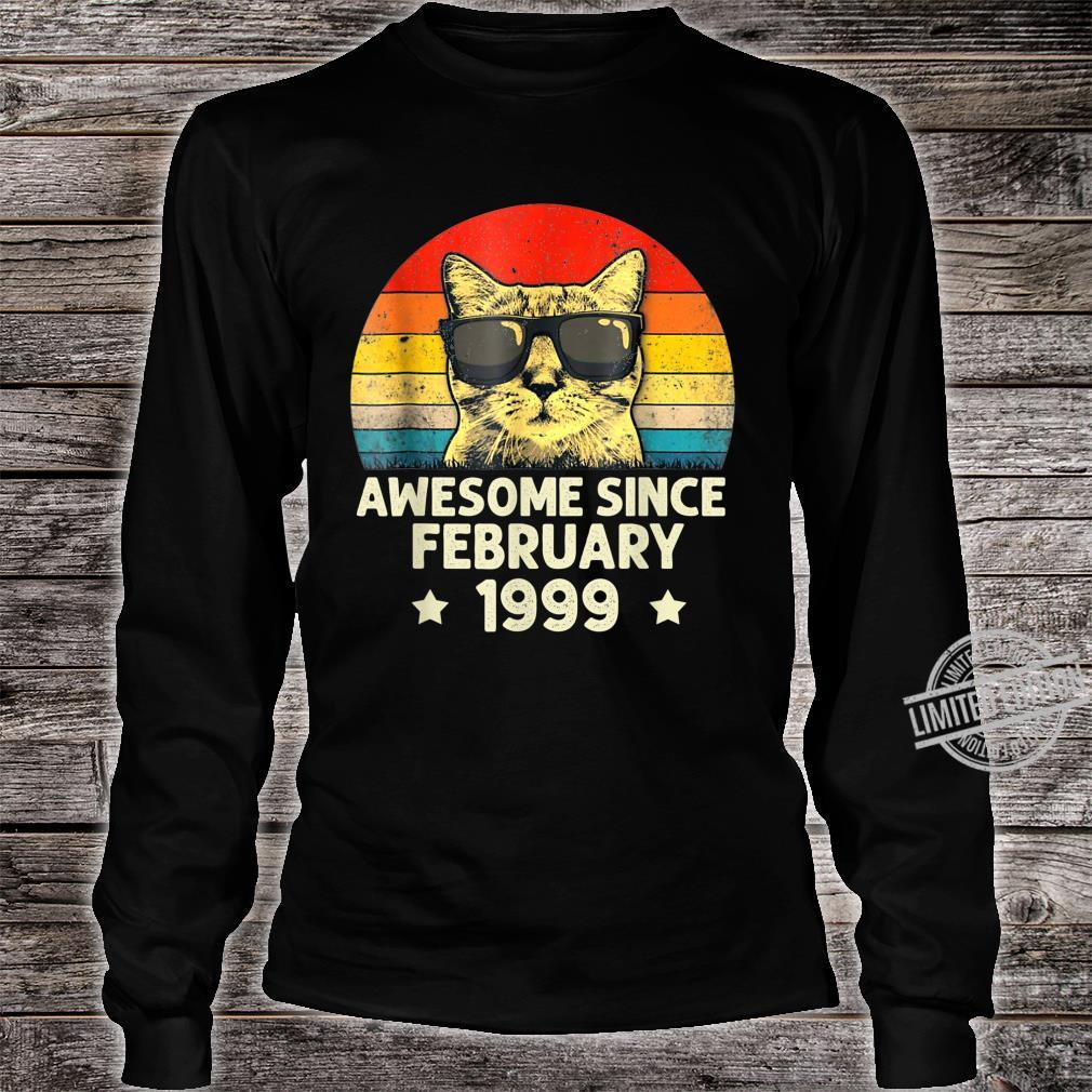 Awesome Since February 1999 21st Birthday Cat Shirt long sleeved