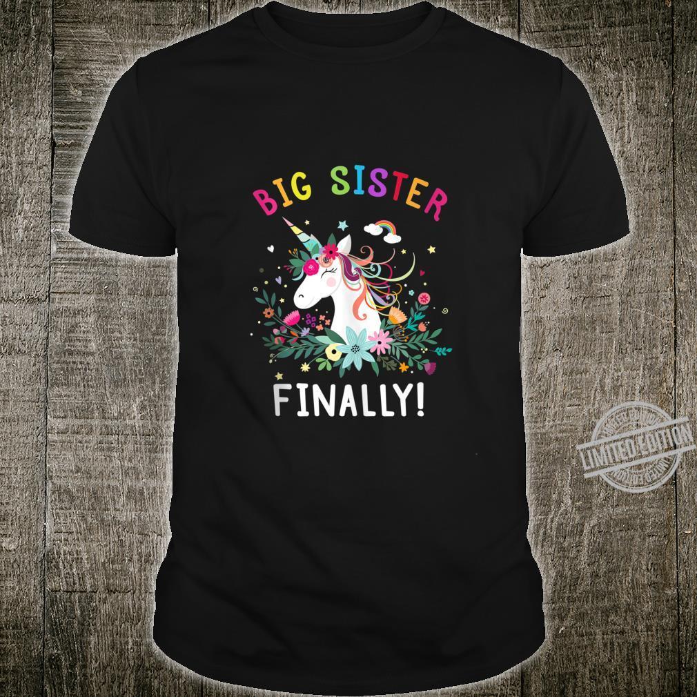 Big Sister Finally Cute Dabbing Unicorn Girl Shirt