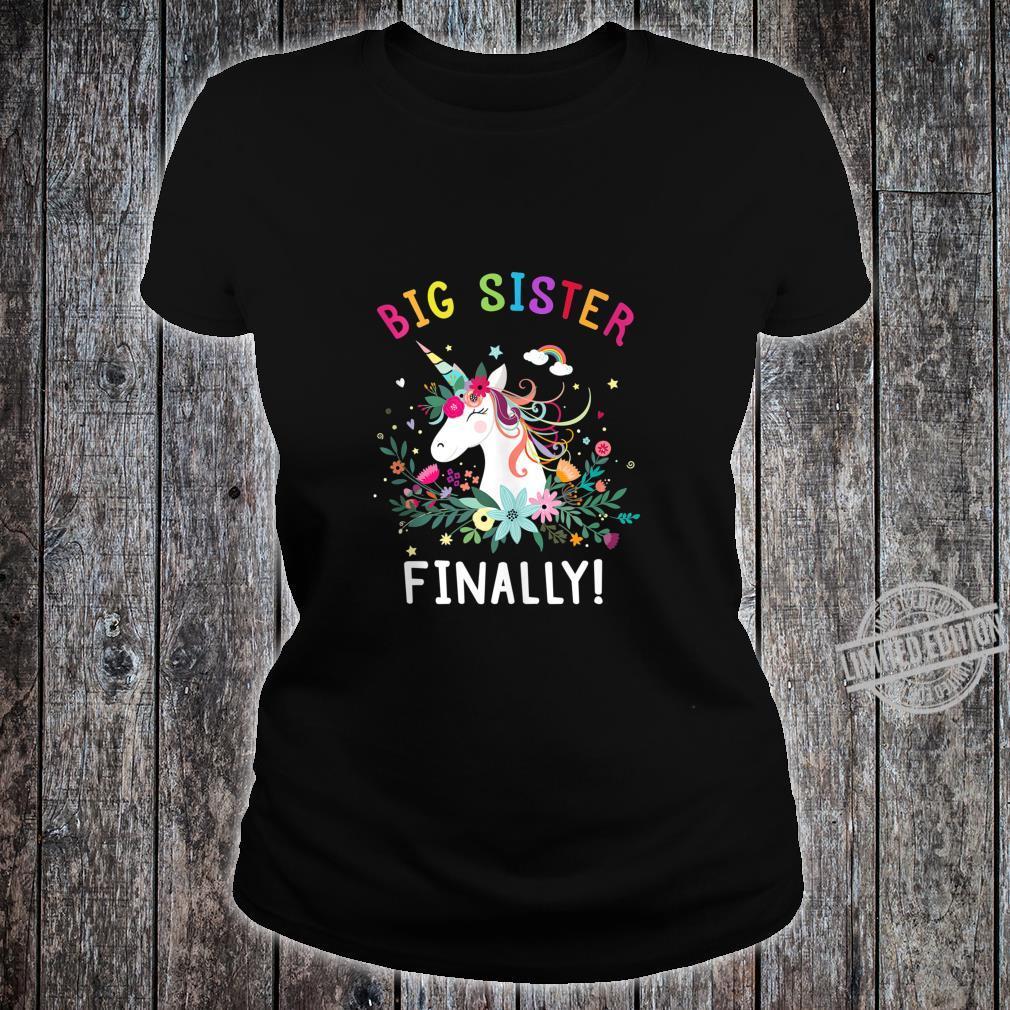 Big Sister Finally Cute Dabbing Unicorn Girl Shirt ladies tee
