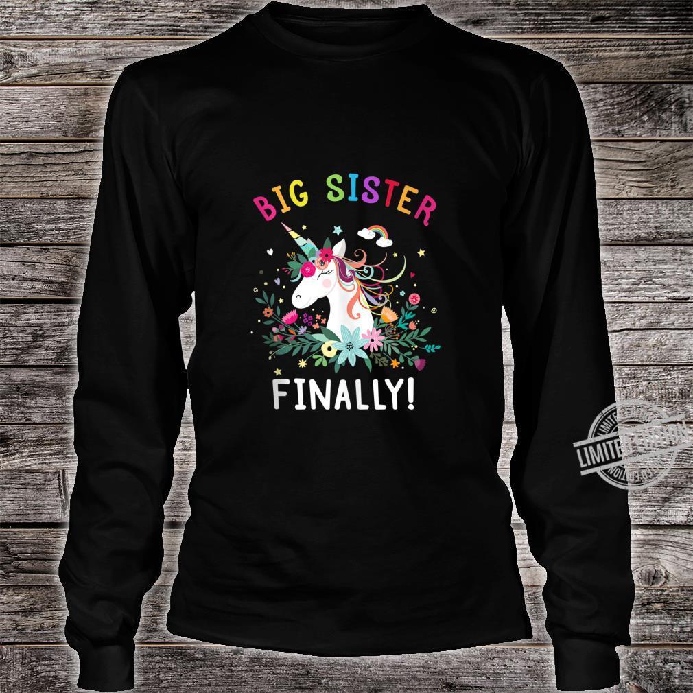 Big Sister Finally Cute Dabbing Unicorn Girl Shirt long sleeved
