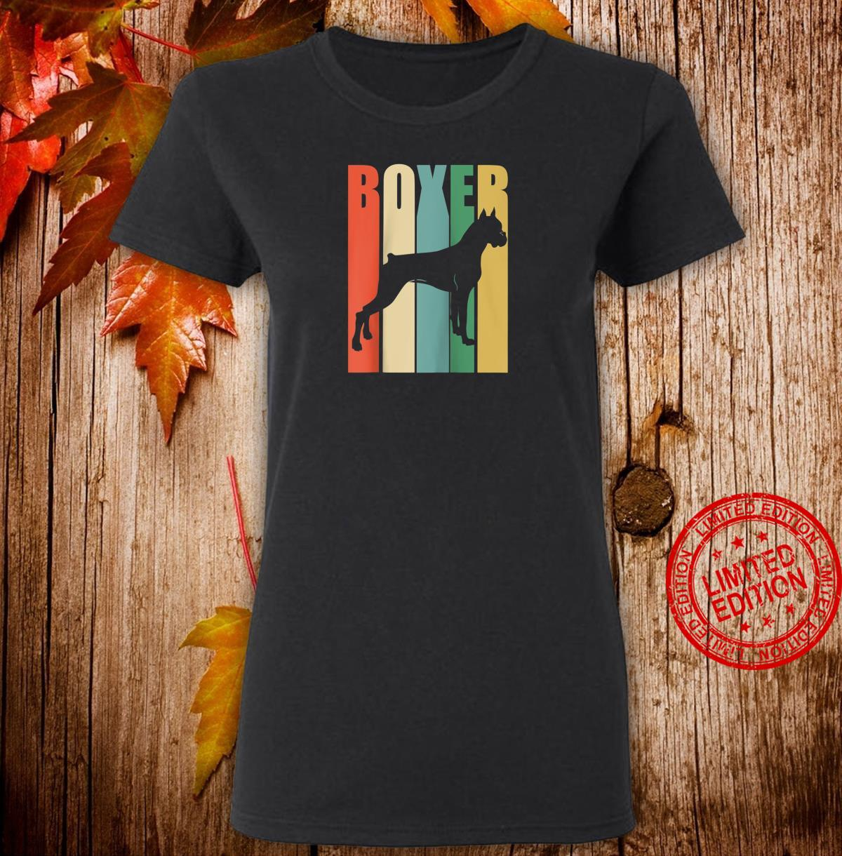 Boxer Dog Vintage Rainbow Style Silhouette design Shirt ladies tee