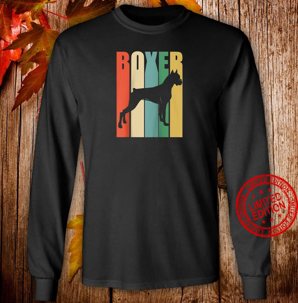 Boxer Dog Vintage Rainbow Style Silhouette design Shirt long sleeved