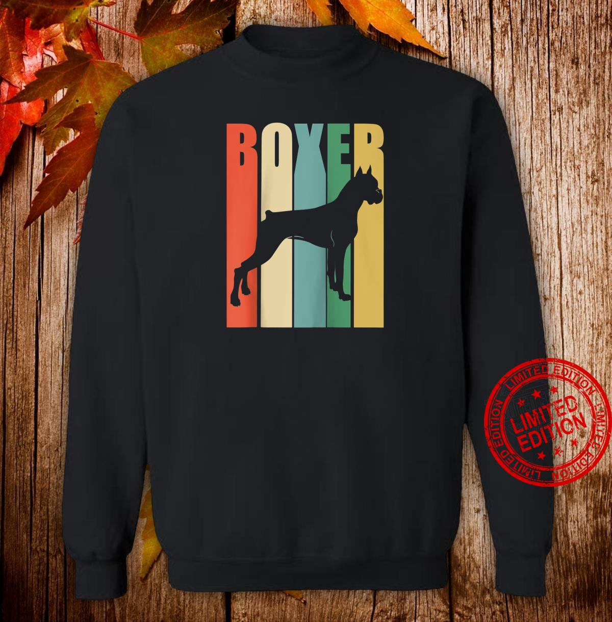 Boxer Dog Vintage Rainbow Style Silhouette design Shirt sweater