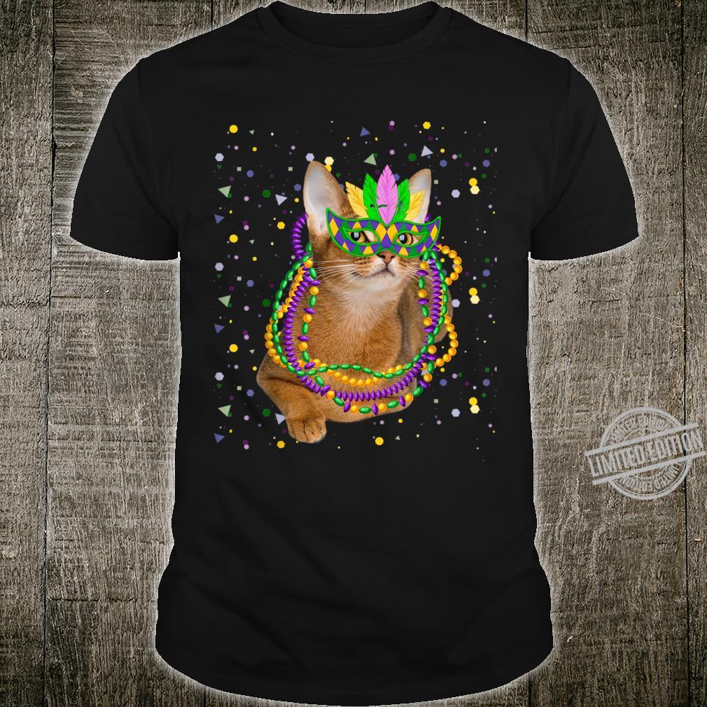 Cat Mardi Gras Cat Mask and Beads Mardi Gras Shirt