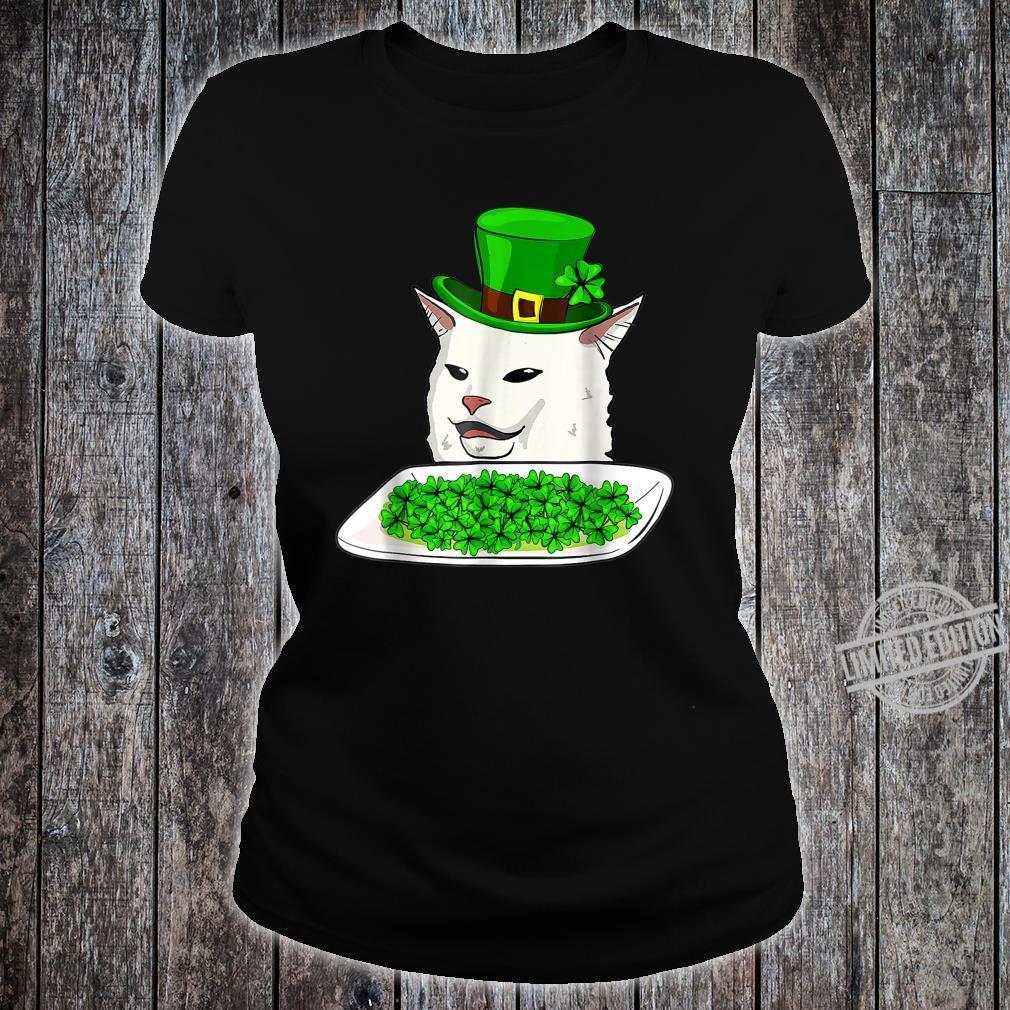 Cat Meme Yelling St Patricks day Irish Cats Shirt ladies tee