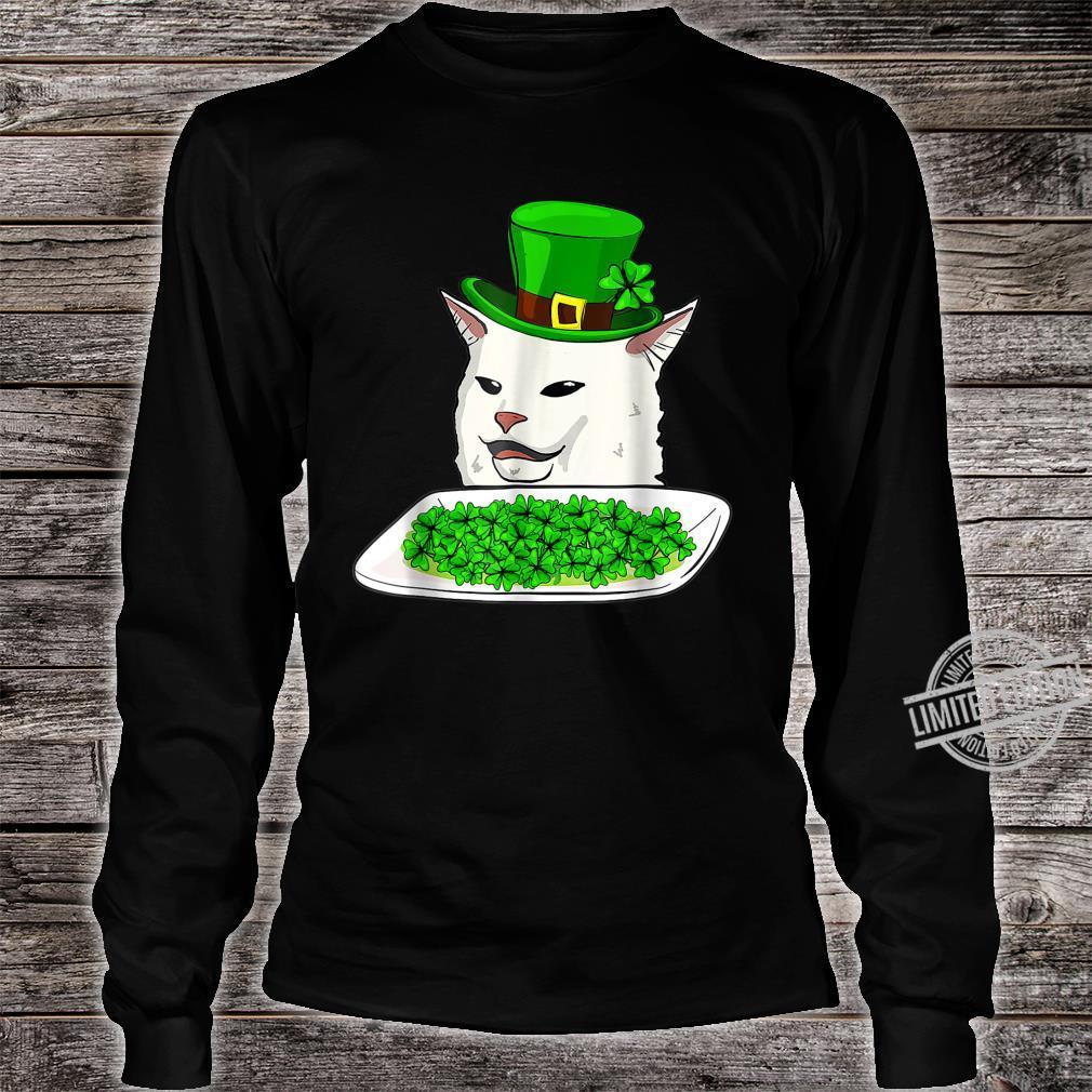 Cat Meme Yelling St Patricks day Irish Cats Shirt long sleeved