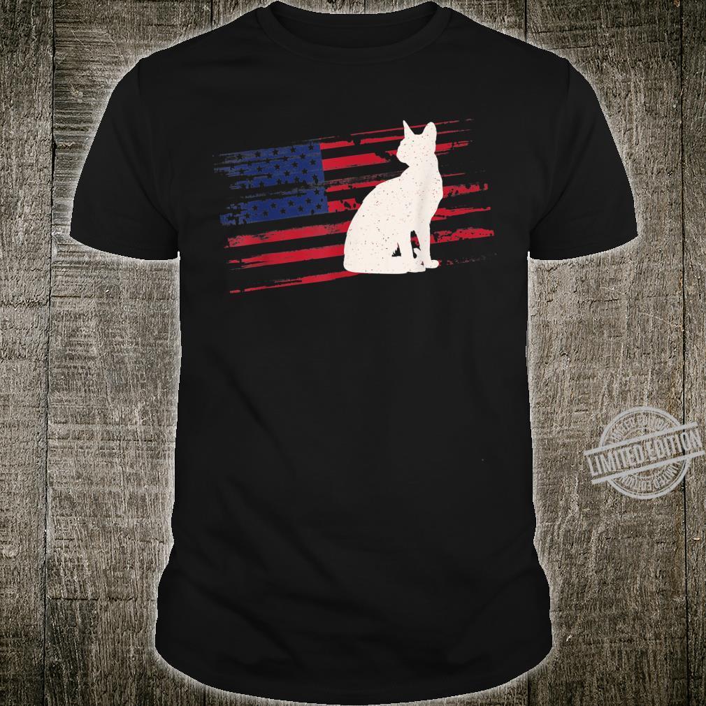 Cat US American Flag Feline 4th Of July Kitty Pet USA Shirt