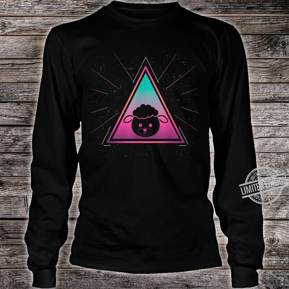 Colorful Sheep Geometrical Triangle Mammal Retro Style Shirt long sleeved