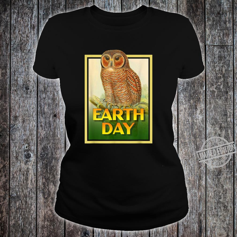 Earth Day Speckled Wooded Owl Bird Set 1 Shirt ladies tee