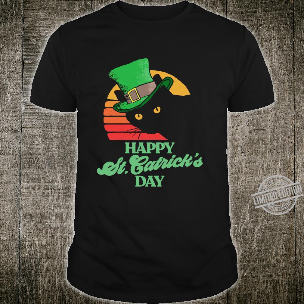 Funny Happy St Catrick's Day 80's St Patricks Cat Retro Shirt