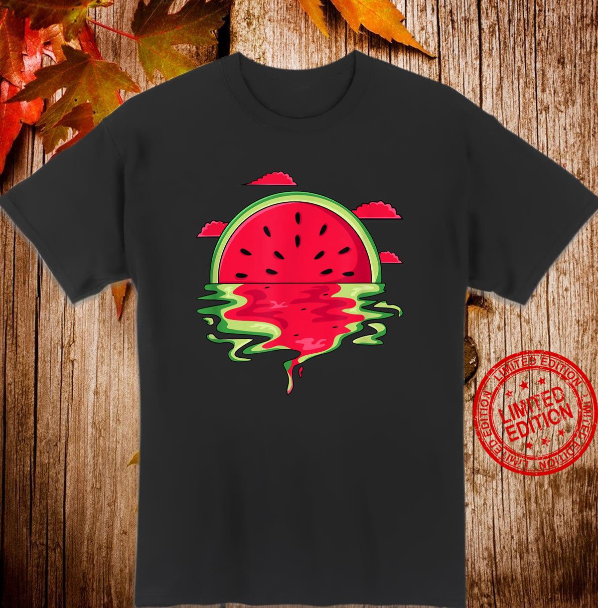 Funny Watermelon Vaporwave Sunset Summer Tropical Shirt