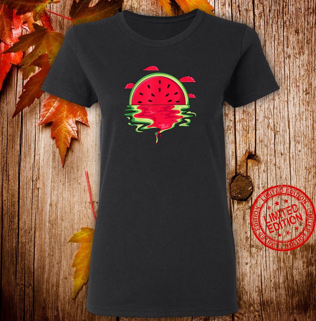 Funny Watermelon Vaporwave Sunset Summer Tropical Shirt ladies tee