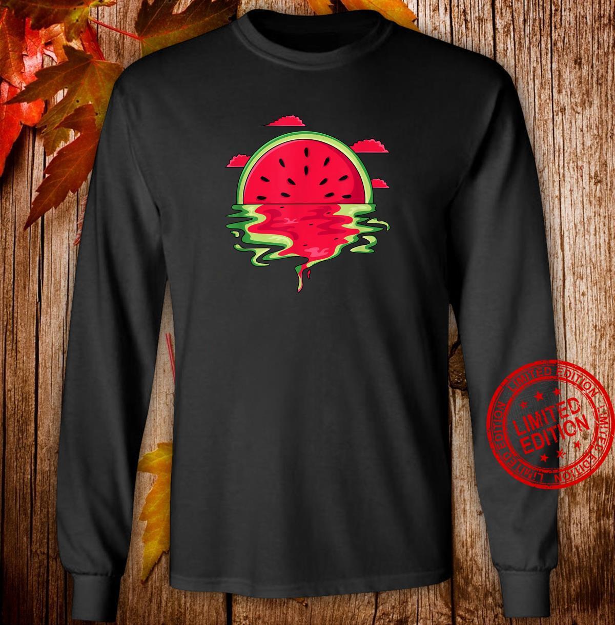Funny Watermelon Vaporwave Sunset Summer Tropical Shirt long sleeved