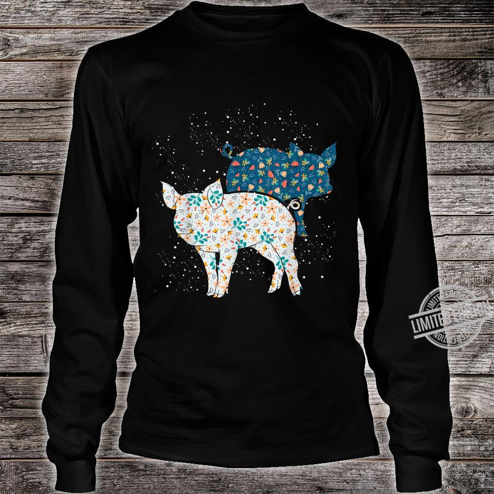 Geschenk Bäuerin Bauernhof Tiermotiv Vintage Schwein Shirt long sleeved