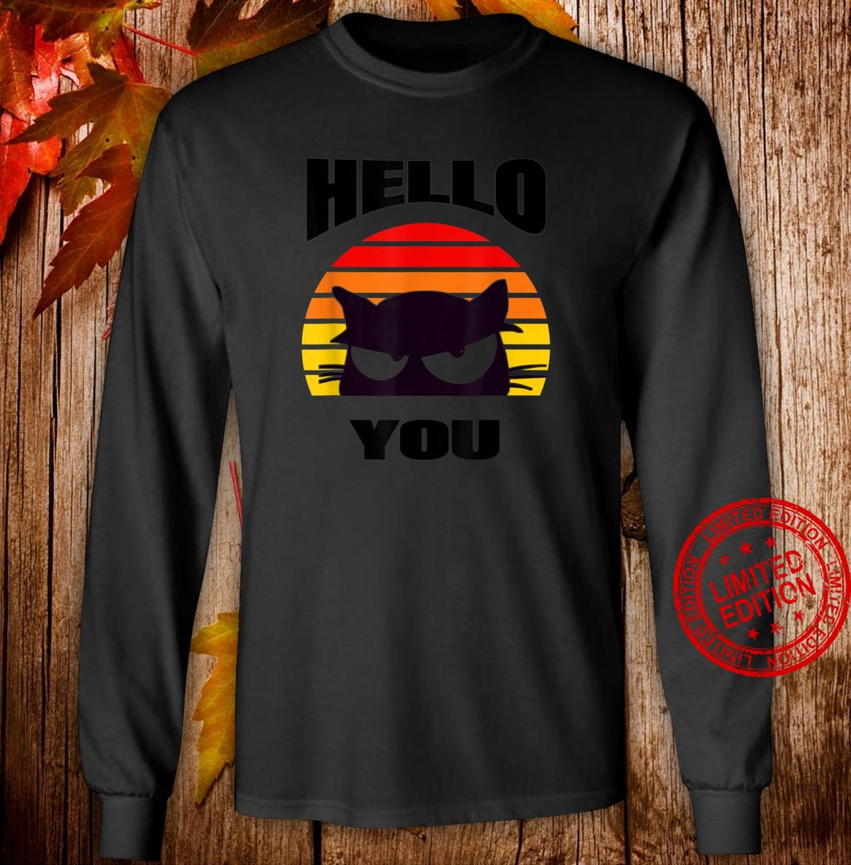 Hello You. Cute black cat design peeping out at you. Shirt long sleeved