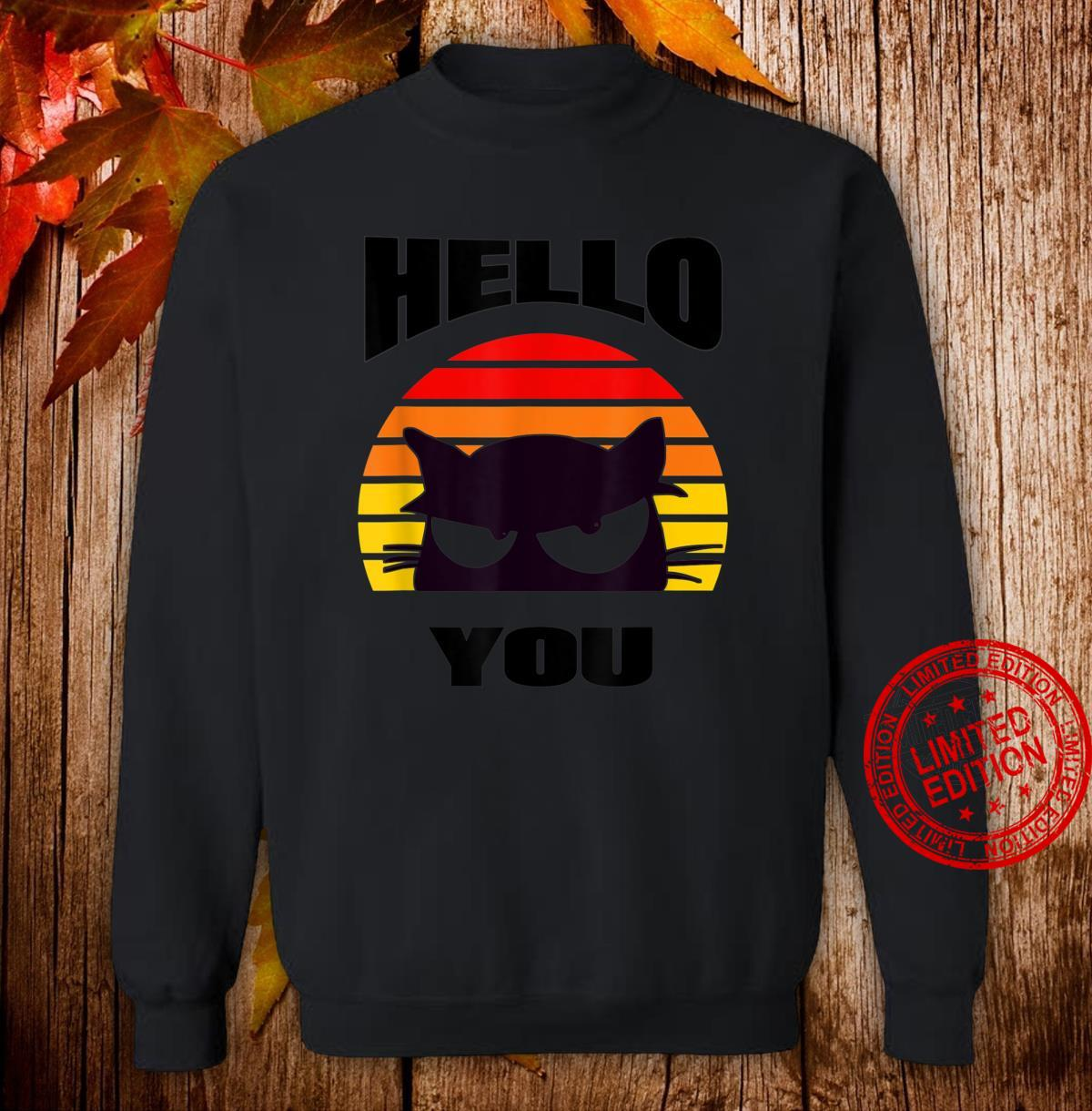 Hello You. Cute black cat design peeping out at you. Shirt sweater