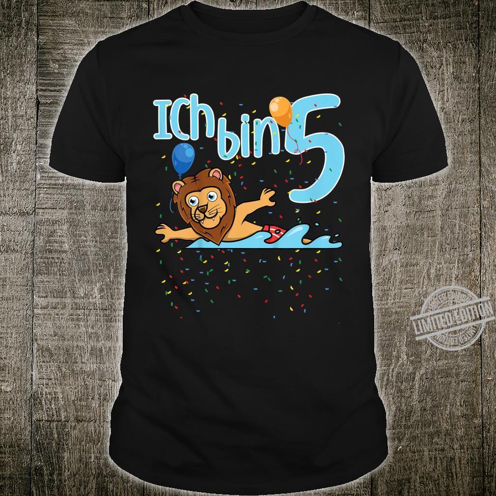Kinder Fünfter Geburtstag Junge Schwimmen Löwe Ich Bin Fünf Shirt