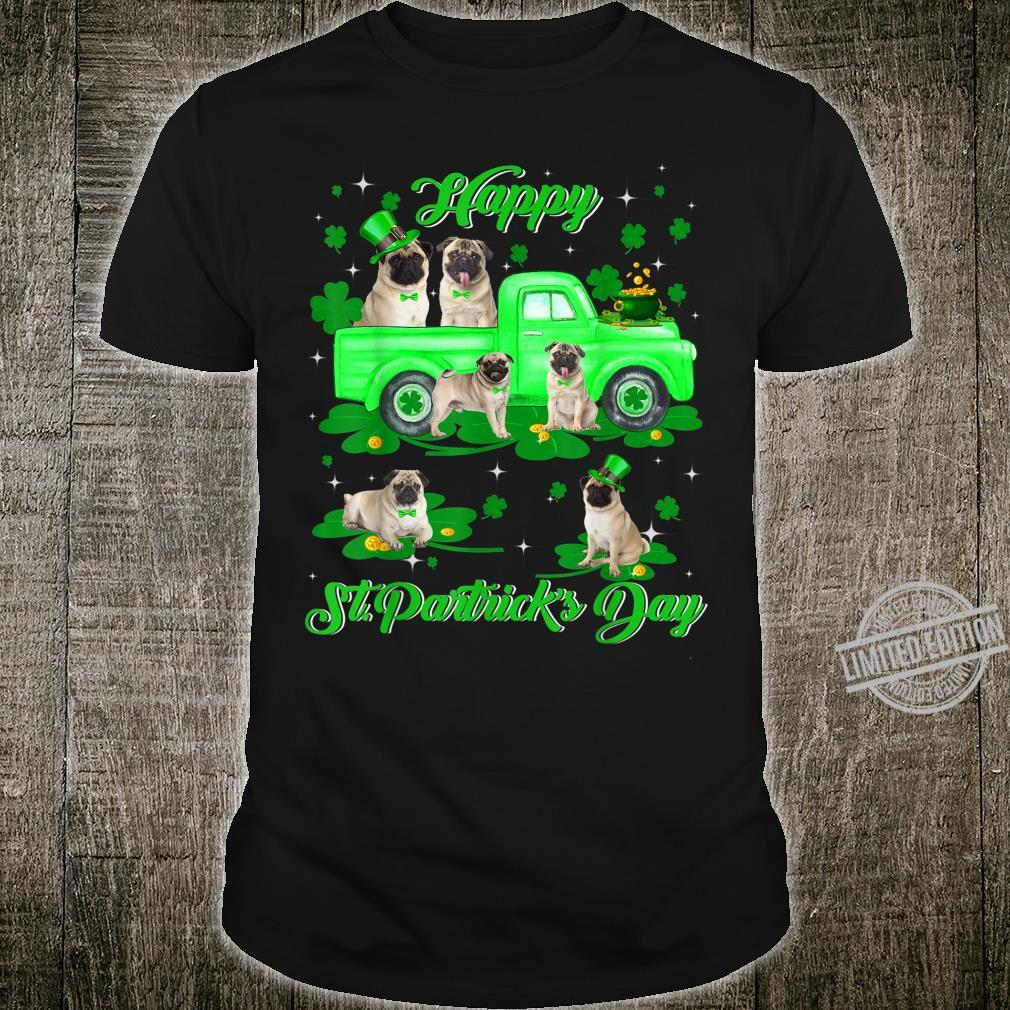Leprechaun Pug Riding Green Truck St Patrick's Day Shirt