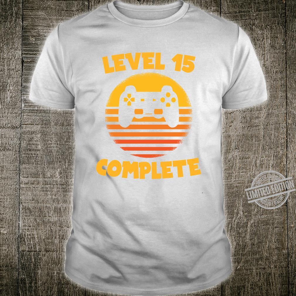 Level 15 Complete Gamer Geburtstag Geschenk Geburtstagskind Shirt