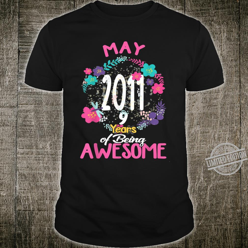 May 2011 9th Birthday Tee Floral for Girls Shirt