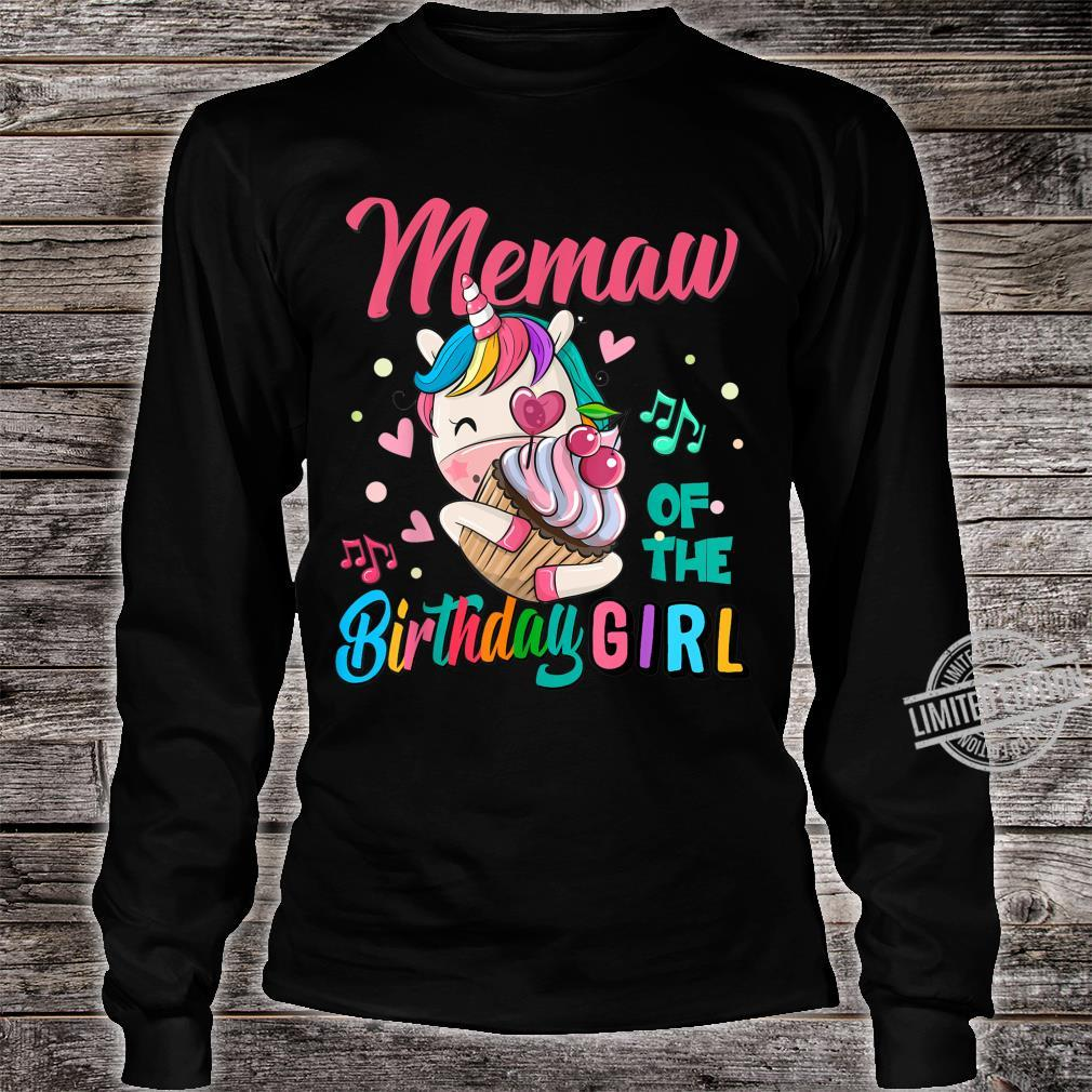 Memaw Of The Birthday Girl Unicorn Matching Family Shirt long sleeved