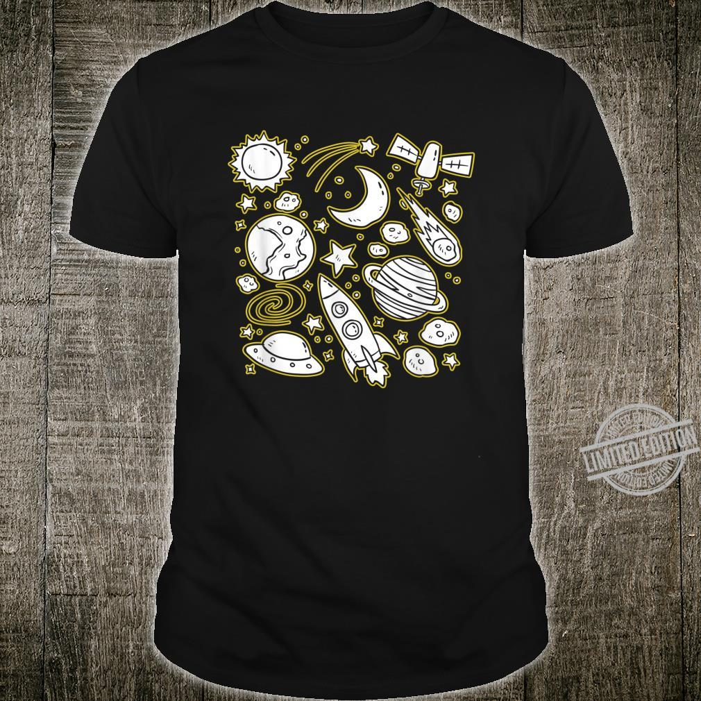 Planets Sun Moon Galaxy Solar System Doodle Sketch Drawing Shirt