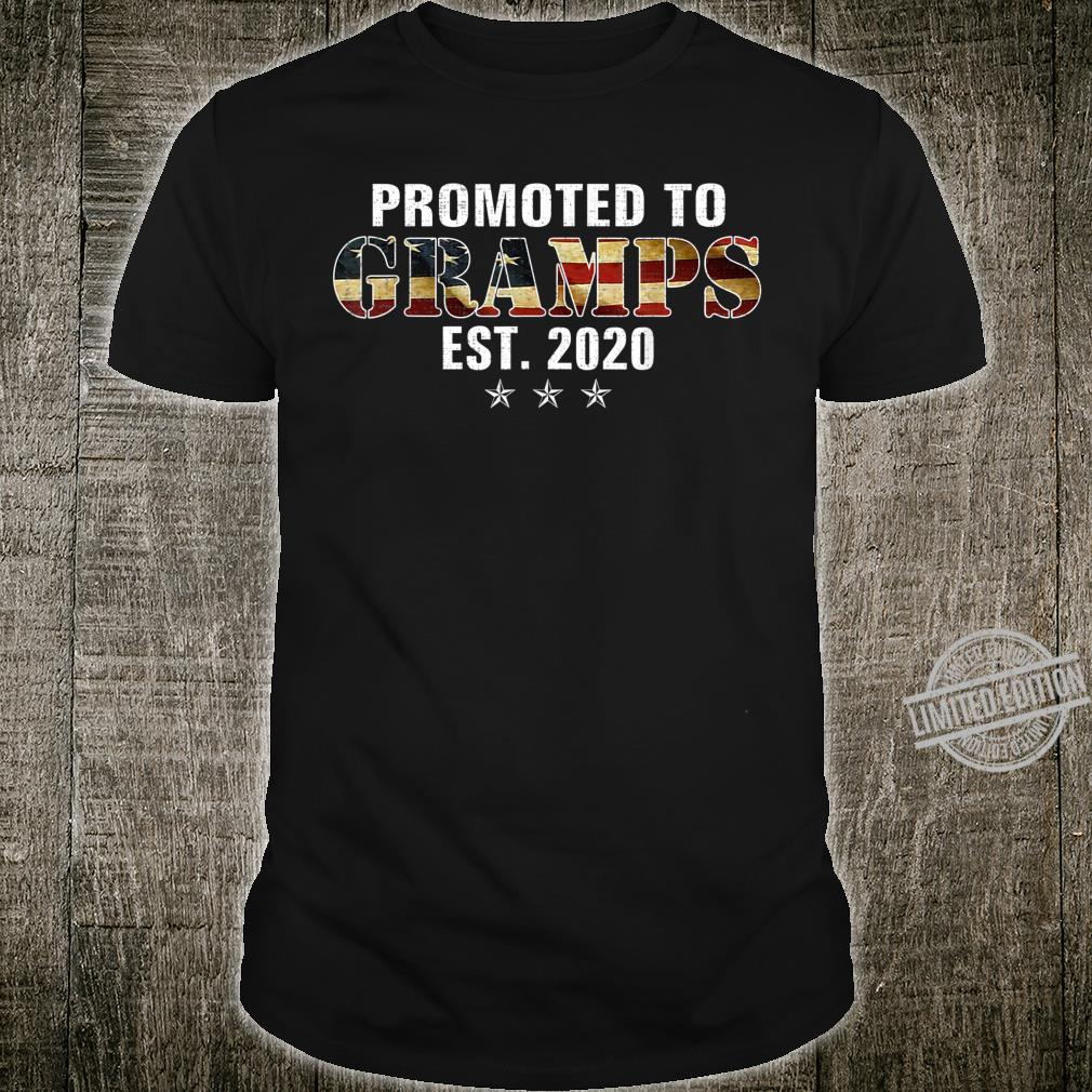 Promoted To Gramps Est 2020 American Flag For New Dad Shirt