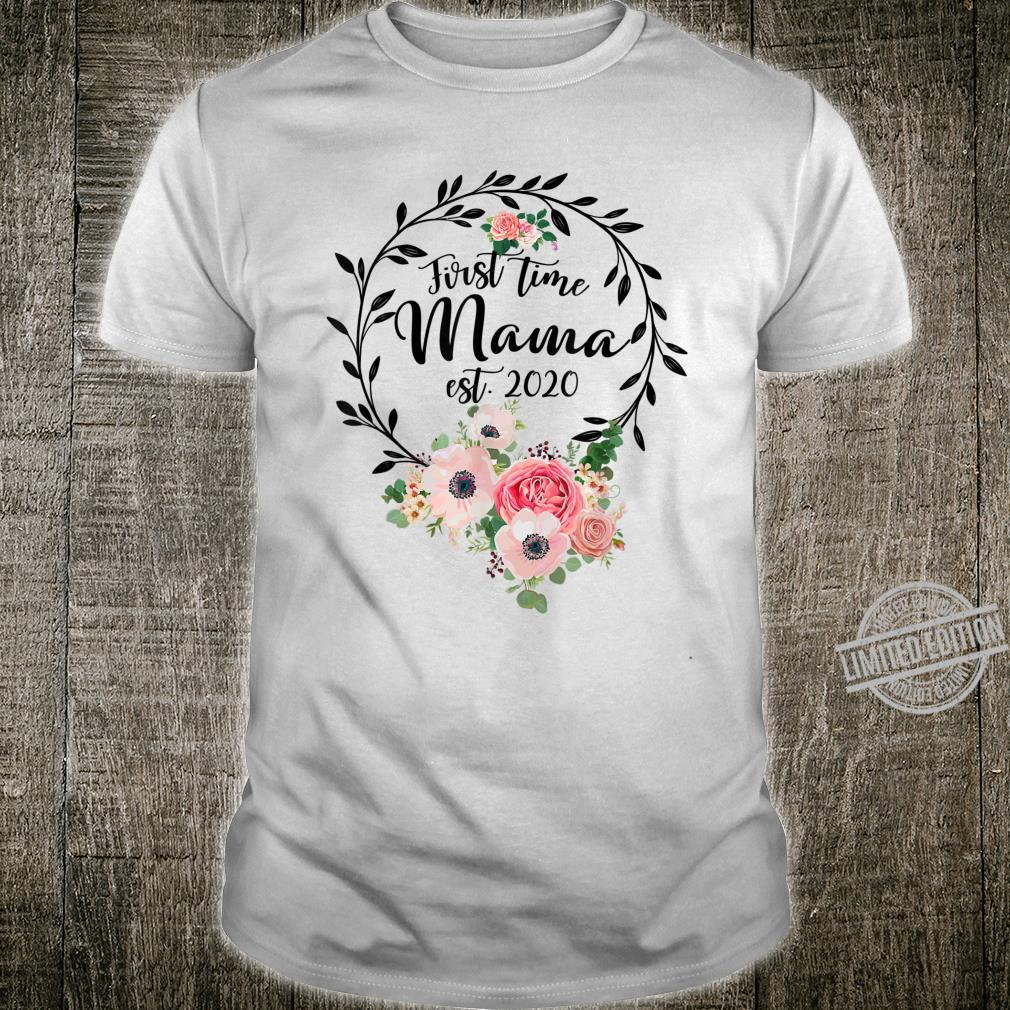 Promoted to Mama Est 2020 Floral First Time Mom Shirt