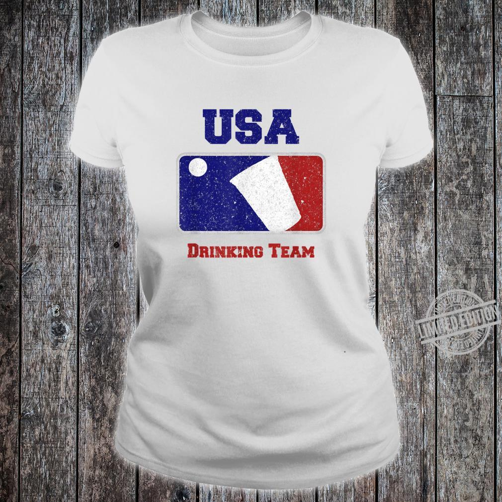 USA Drinking Team Party Beer Pong Game Distressed Retro Shirt ladies tee