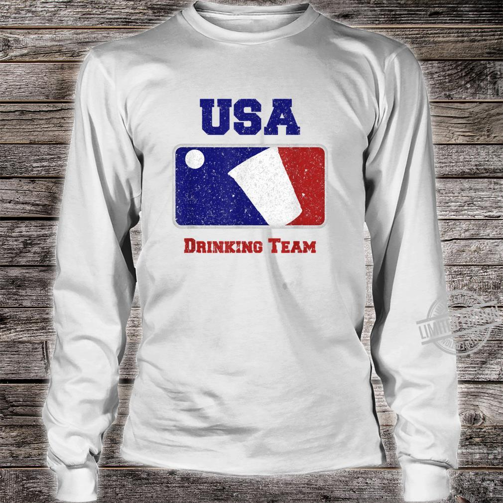 USA Drinking Team Party Beer Pong Game Distressed Retro Shirt long sleeved