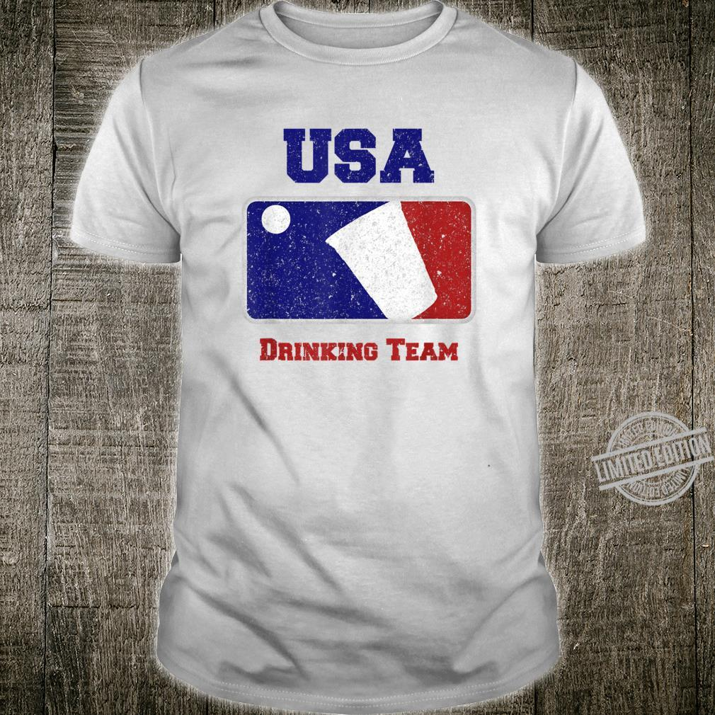 USA Drinking Team Party Beer Pong Game Distressed Retro Shirt