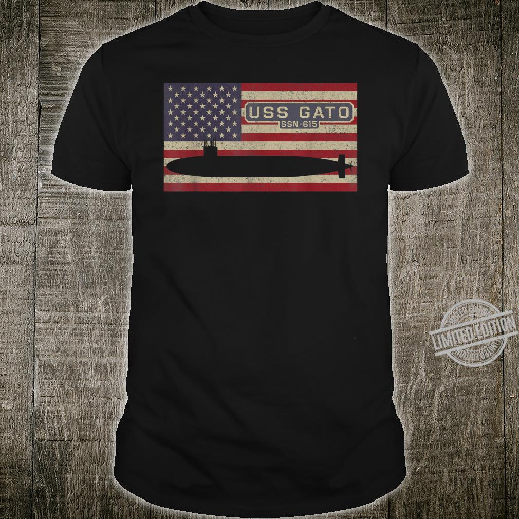 USS Gato SSN615 UBootGeschenk mit amerikanischer Flagge Shirt