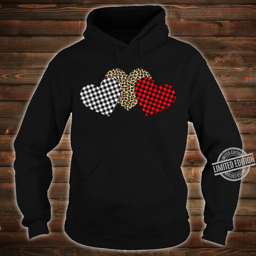 Valentine's Day Three Hearts Leopard Buffalo Plaid Shirt hoodie