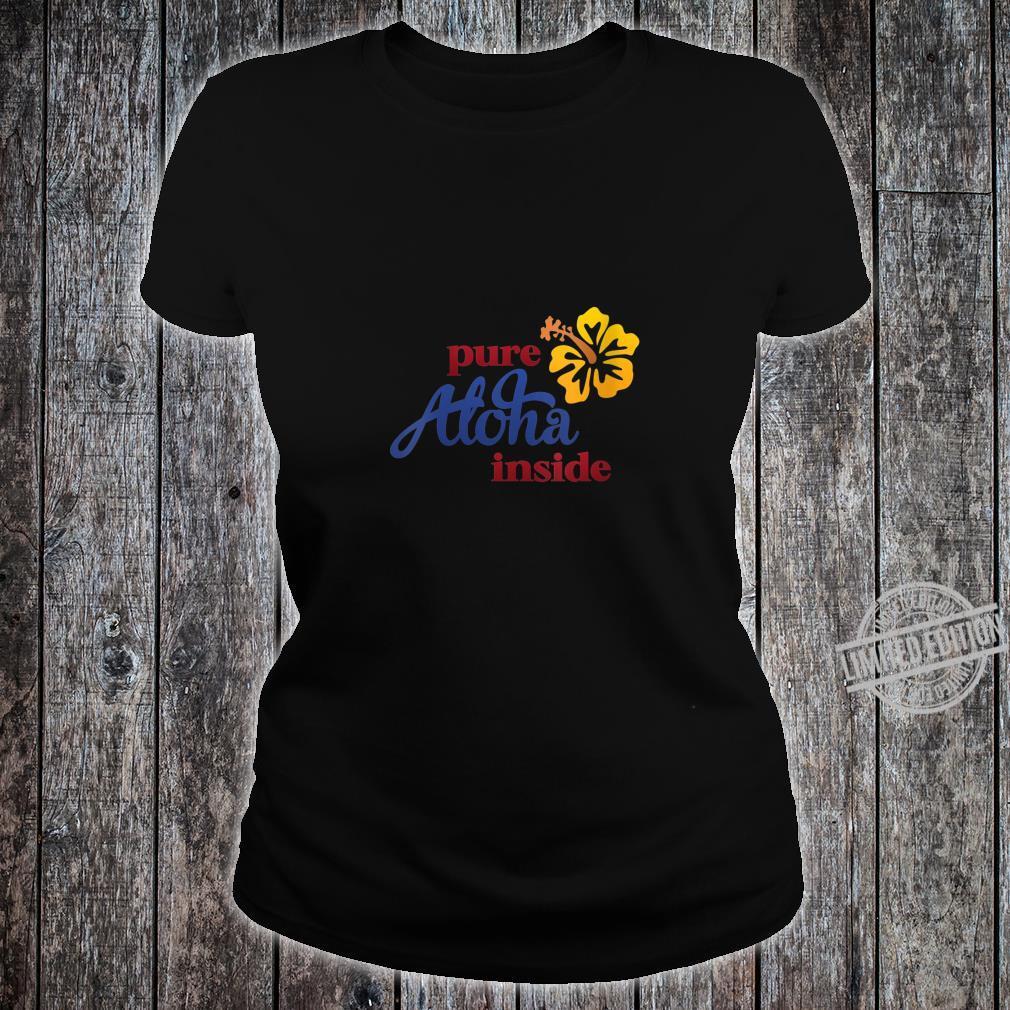 Womens Aloha Hibiscus Flower On Front Arizona State Flag On Back Shirt ladies tee