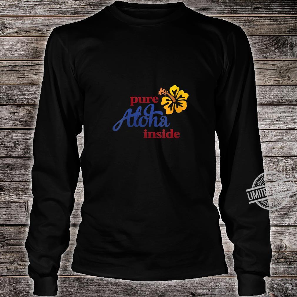 Womens Aloha Hibiscus Flower On Front Arizona State Flag On Back Shirt long sleeved
