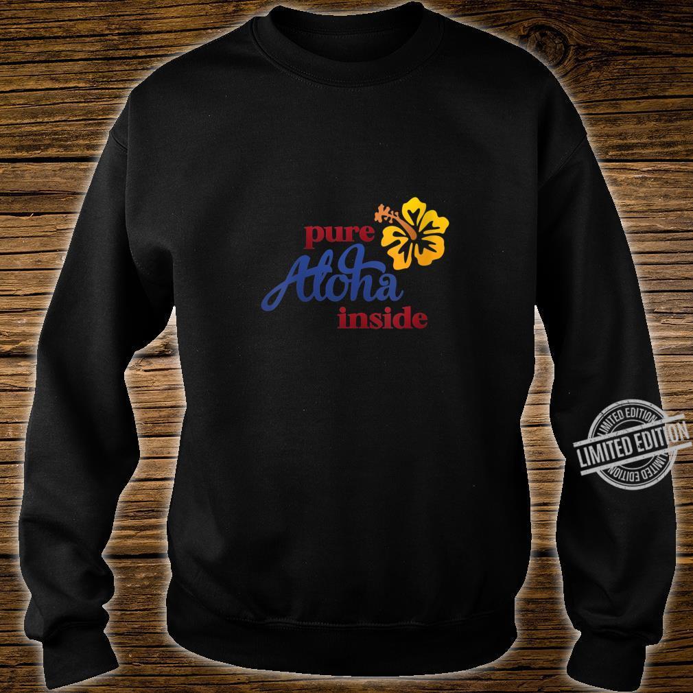 Womens Aloha Hibiscus Flower On Front Arizona State Flag On Back Shirt sweater