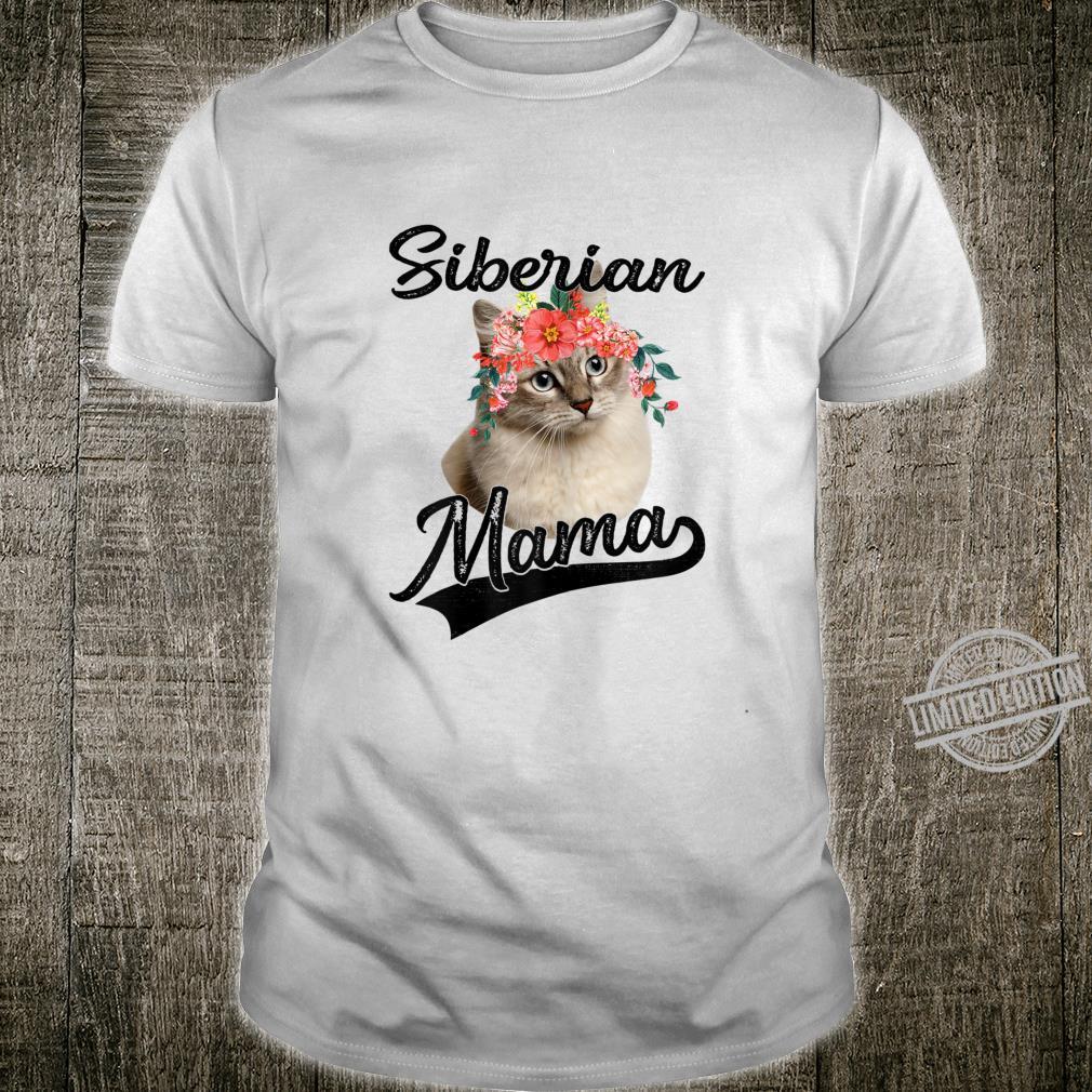 Womens Cute Siberian Mama Flower Cat Shirt
