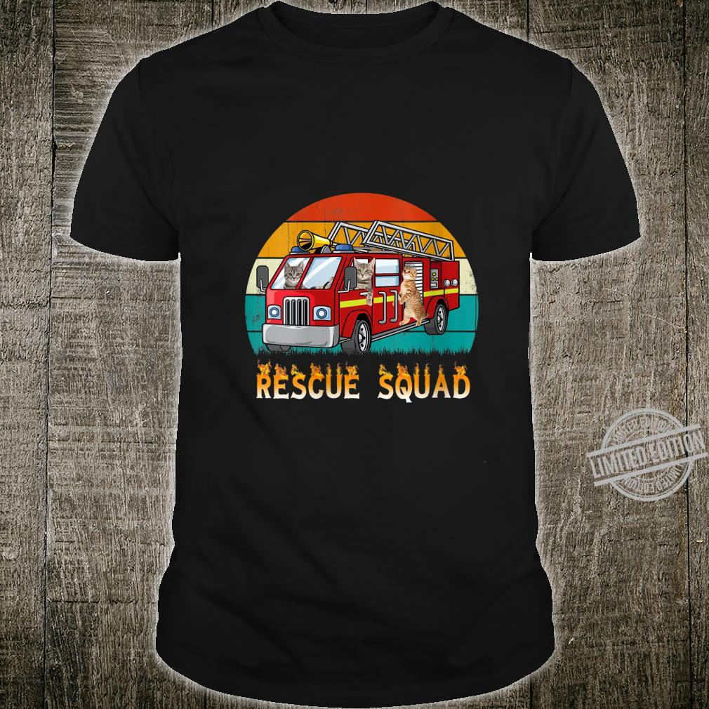 Womens Vintage Retro Style Sunset Rescue Squad Cat Firefighter Shirt